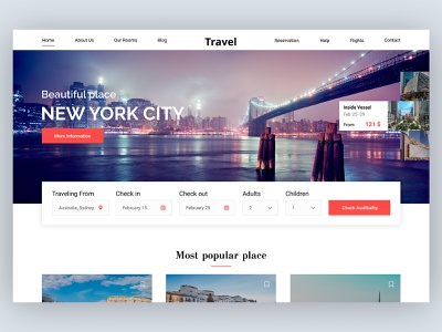Travel Booking Concept new york travel minimal card concept beautiful preview home website design web ux ui
