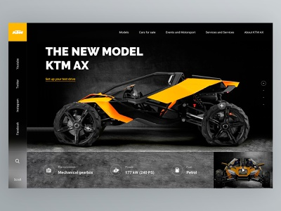 KTM AX Model - Concept promo buggy ax ktm website beautiful typography vector logo cart concept app home social design web ux ui