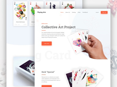 Landing Page Playing Card landing page minimal cart card concept beautiful preview home website design web ux ui