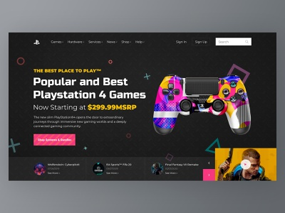 Home screen - Playstation 4 cyberpank shot game design game playstation4 preview social concept home website design web ux ui