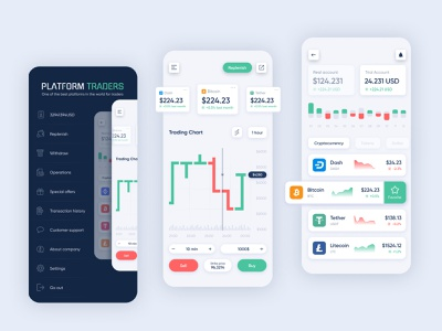 Mobile App - Cryptocurrency Platform Traders transaction graphic platform traders trader bitcoin money dollar crypto exchange cryptocurrency crypto wallet crypto product concept app website design web ux ui