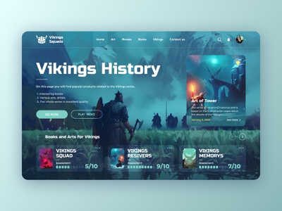 Vikings - Book and Movies serial video squad ragnar history man fight art movies books viking beautiful home website design web