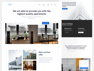Real Estate - Apartments for days Landing Page real estate website real estate design app websites services clean ui minimalistic website design minimalism web minimalist minimal website webdesign ui design design real estate agency real estate ux ui