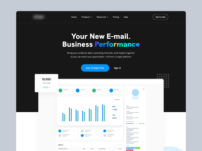 Website for E-mail Client - Dark gradient design dark header dark mode website marketing design landing page design big hero mailchimp marketing campaign email email marketing marketing agency marketing website sales landing page hero section big hero section hero clean design ux ui
