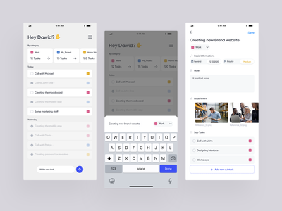 TodoList - Daily Task Management MVP mobile application mobile app design addtask addproject light mode dailytasks dailytodo task list task management todoist mobile apps task management app task todo list todo app todolist todo mobile app ux ui