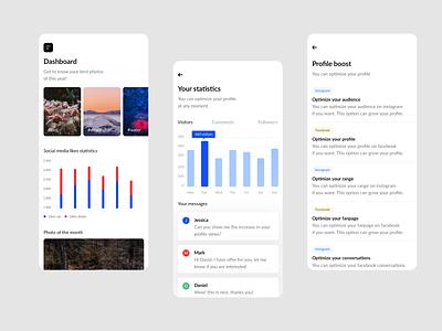 Marketing analysis in social media etheric app dashboard app concept ui design sketch mobile app app design app apps application ios ui ux design clean design