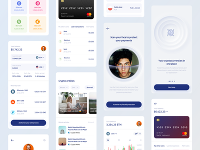 Cryptocurrency Market Screens Overview fireart fireart studio character cryptocurrency market crypto market design apple crypto ui coins crypto exchange crypto wallet crypto mobile app ui design ios app design clean design ux ui