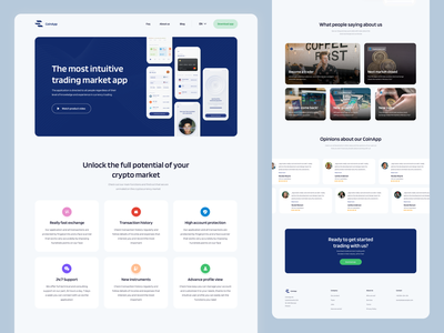 Landing Page for Cryptocurrency Market web webdesigns website design coin web coins crypto webdesign product design fireartstudio fireart ui ux landing page ui crypto app cryptocurrency app website page landing landing page