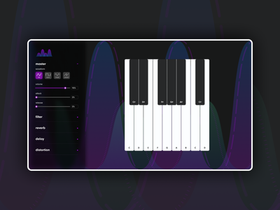 Web Synthesizer sound piano music synthesizer synth vector interaction ui webdesign web