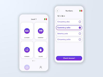 Spanish App learn spanish app for kids purple mobile ux ui design app app design spanish app spanish