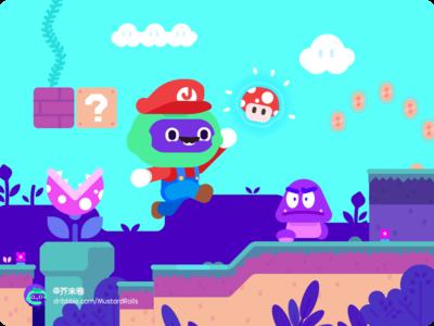 SUPER MARIO WORLD mushroom gold jump game mustardrolls illustrations mario super mario world