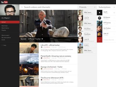 YouTube Concept youtube movie social profile ui interface