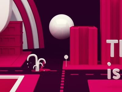 Joy - The new is coming. joy ball city 3d red pink dot building keyvisual