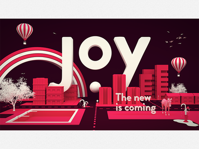 Joy - The new is coming joy ball city 3d red pink dot building keyvisual