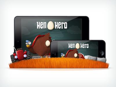 Hen Hero - Game Mock-Up hen hero mobile chicken egg iphone ipad grass game