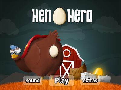 Hen Hero - Menu screen hen hero chicken menu mobile game egg grass