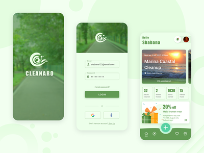 Cleanaro - an app for environmental volunteers environmental greenery login page mobile app ux design