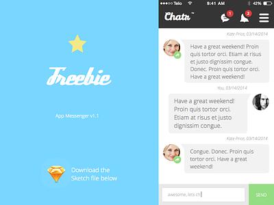Chat / Messenger App + .sketch file sketch app freebie messenger chat