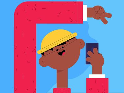 Cheese design illustration fun glasses man mobile selfie character