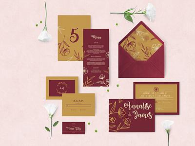 Wedding Stationery floral pattern floral typographic stationery design stationery set wedding stationery stationery wedding wedding invitation typography design flat color