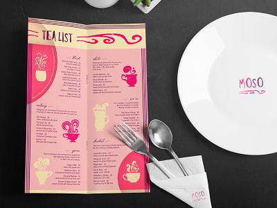 Moso Menu graphic design menu design branding illustration flat color sketch digital wacom photoshop