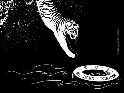 Richard Parker blackandwhite black  white illustration reading character books inktober2020 inktober