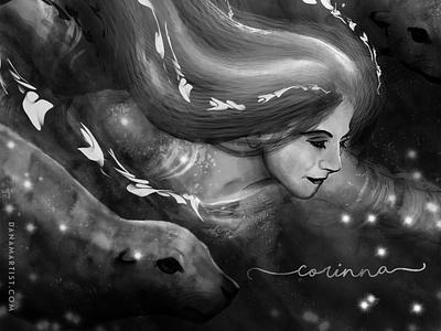 Corinna legend myth folklore selkie seals ocean procreate sketch drawing inking digital photoshop character design inktober2020 inktober illustration