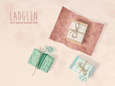 Ladglen Soap typography surface patterns pattern design surface design cosmetics label design soap packaging packaging design graphic design