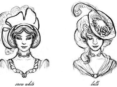 Disney Princesses in Hats historical fashion disney princesses hats fashion illustration