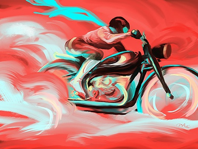 Thin Air photoshop biker girl turquoise coral digital painting