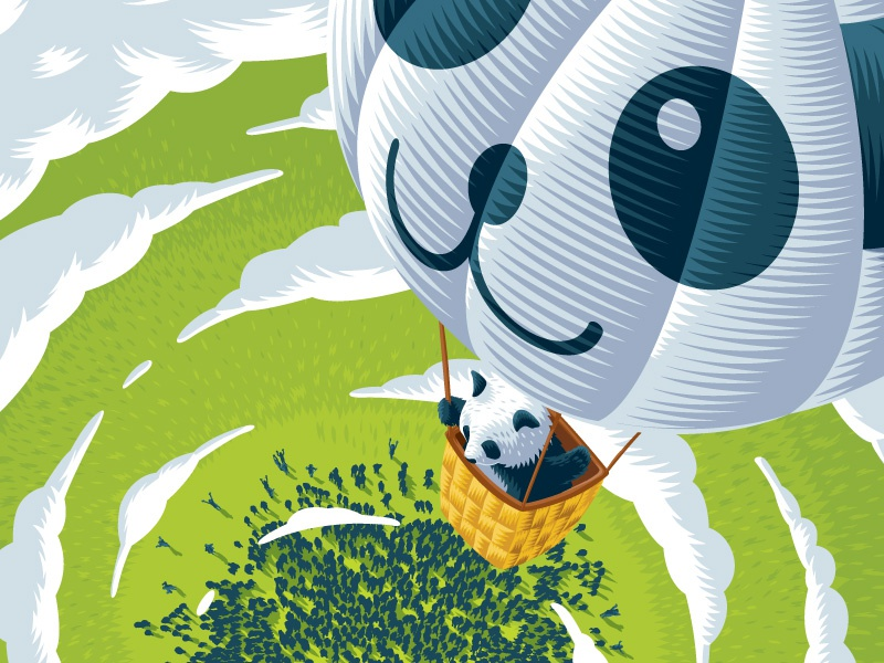 Illustration poster vector illustration panda