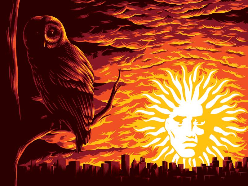 Illustration for gig poster vector dawn cloud owl event gig illustration