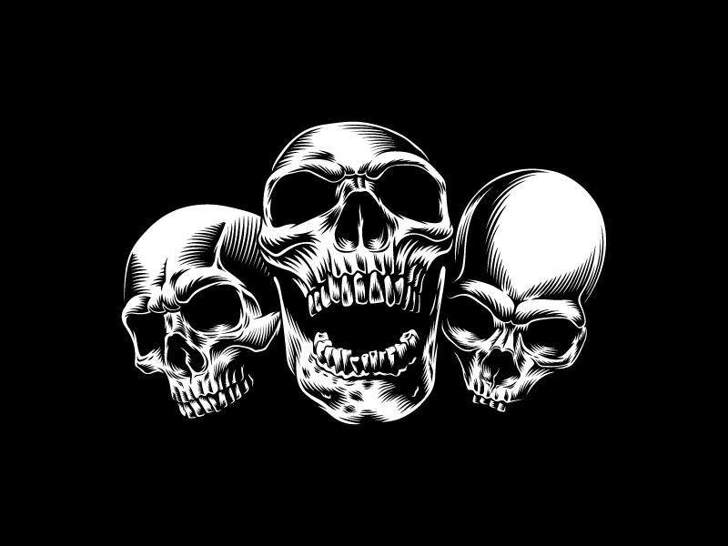 Skulls illustration edm. music illustration vector skull