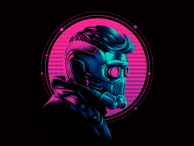 Star Lord retrowave vector star lord