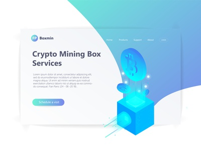 3D Isometric Header Page Illustration tech blue bitcoin isometric crypto 3d illustration 3d ux user interface user experience ui landing page landingpage illustration hero section hero image clean design