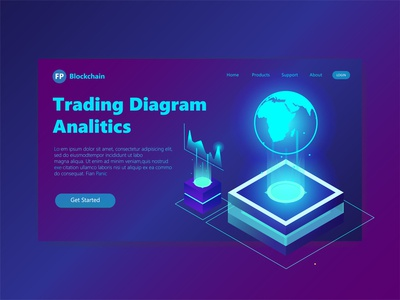 3D Header Page Illustration Trading Analitic trading platform analitic diagram trading 3d illustration 3d ux user interface user experience ui landing page landingpage illustration hero section hero image clean design