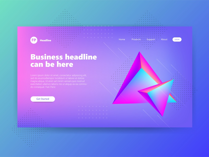 Header Page Illustration 3D Gradient Triangel Mesh gradient design gradient color design triangles mesh gradient triangle 3d illustration 3d ux user interface user experience ui landing page landingpage illustration hero section hero image clean design