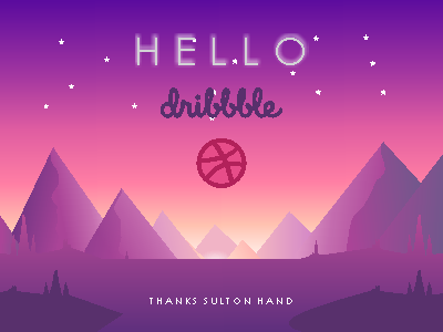 Hello Dribble, First Shot flat mountain mountain invite first shot hello dribbble flat debut