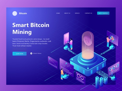 Header Page Illustration Smart Bitcoin Mining | #Exploration fianpanic header page bitcoin services illustrator blue app ux icon typography ui design illustration invite hello dribbble flat mountain flat first shot debut