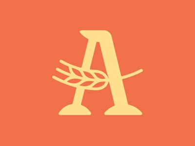 Letter A Wheat 📌 Logo for Sale natural logo vegetarian vegan greens cake nature flora cafe valley corn farming farm harvest bread bake spike bakery grains wheat