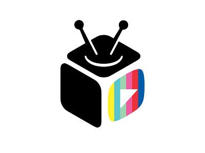 TV Box 📌 Logo for Sale series cinema logo multimedia movie media honeycomb axonometry entertainment video blogger blogger cube streaming broadcast play hosting video tube box