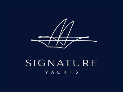 Signature Yacht Logo 📌 Logo for Sale seafood cafe restaurant sport beach hotel logo blue water luxury nave vessel one line sea ship pleasure boat waves sail yacht signature