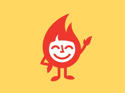Flame Character 📌 Logo for Sale travel illustration happy fun cute cartoon head funny smile mascot personage character comics light logo burn fire flame hot