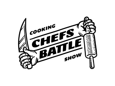 Chefs Battle 📌 Logo for Sale logo etching engraving competition fight roll out cut arms contrast scramble culinary opposites show tv cooking rolling pin knife hands chef battle