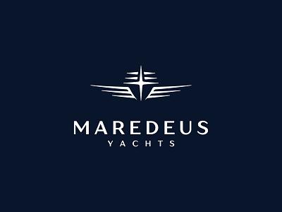 Maredeus branding illustration design logo cross star master waves cruise ship nautical marine mare deus god celestial sea yacht