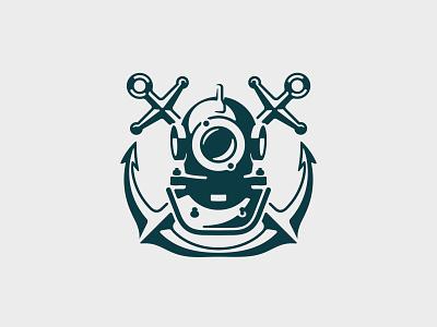 Scuba 📌 Logo was Sold sport hobby mask naval retro vintage water underwater subsea submariner rope heraldic coat of arms emblem logo plunger helmet scuba anchor diver