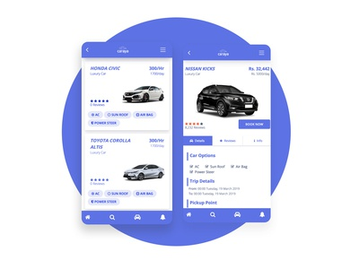 Car Rentals App Design