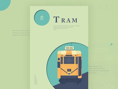 Tram ux ui web app icon city retro illustration vintage flat color tram kolkata
