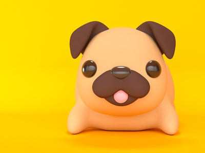 Pug puppy funny pet mascot stylized happy friendly animal render design character toy cute dog tongue 3d