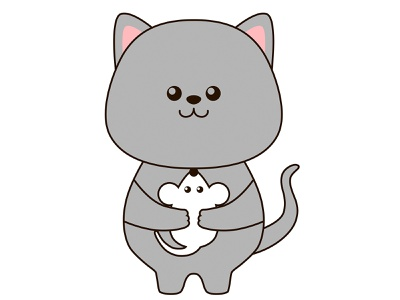 Cute little cat hugs a mouse logo icon character cartoon illustration design art mascot fun happy animal vector card kawaii friend friendship mouse hug